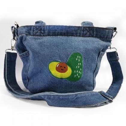 Avocado Embroidery Denim Hand Bag / Sling Bag