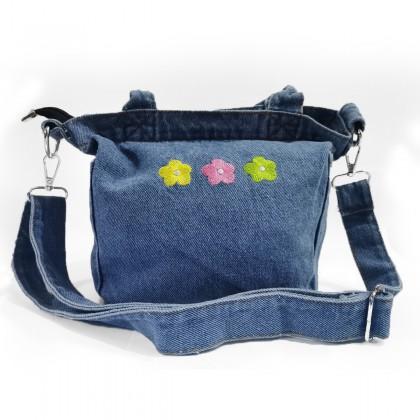 Flower Embroidery Denim Hand Bag / Sling Bag