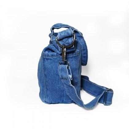 Forget-Me-Not Embroidery Denim Hand Bag / Sling Bag